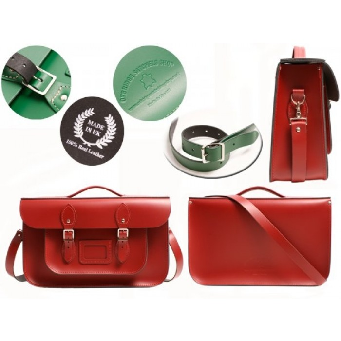 """15"""" Red English Leather Satchel - Briefcase"""
