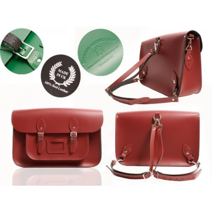 """15"""" Red English Leather Satchel - Backpack"""