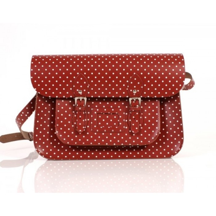 "15"" Red PolkaDots English Leather Satchel"