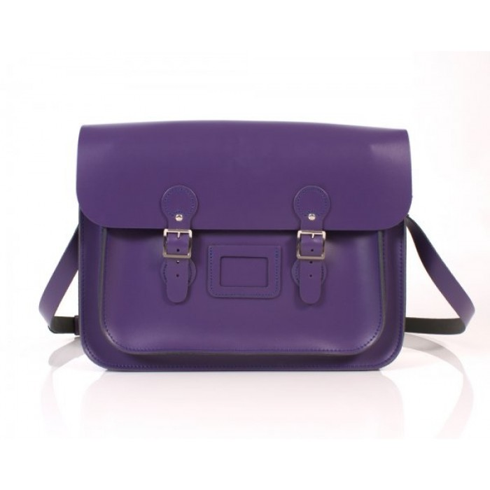 "15"" Deep Purple English Leather Satchel - Circle"