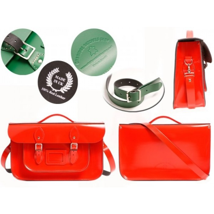 """15"""" Red Patent English Leather Satchel - Briefcase"""