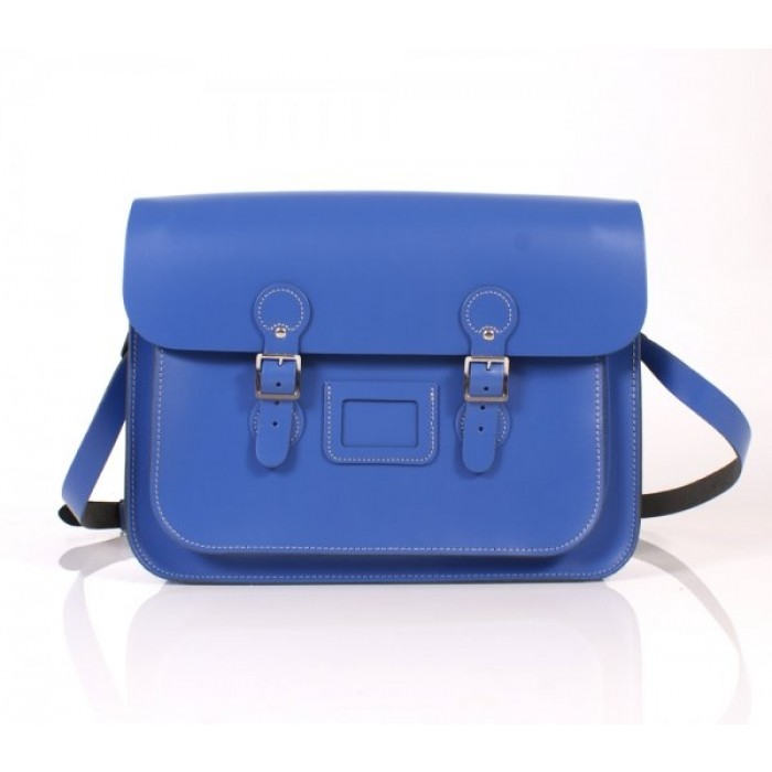 "15"" Blue English Leather Satchel - Circle"