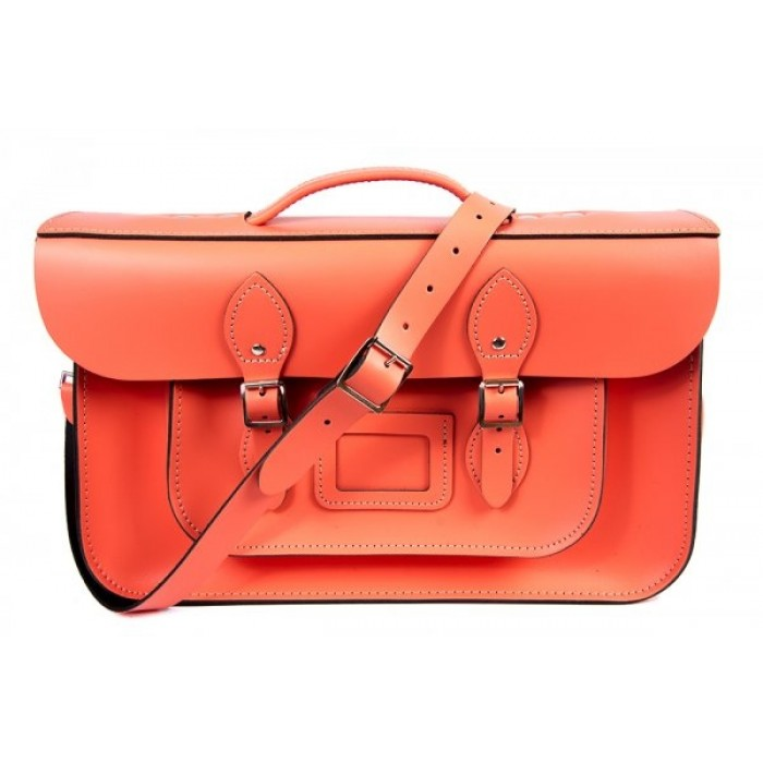 "15"" Salmon English Leather Satchel - Magnetic Briefcase"