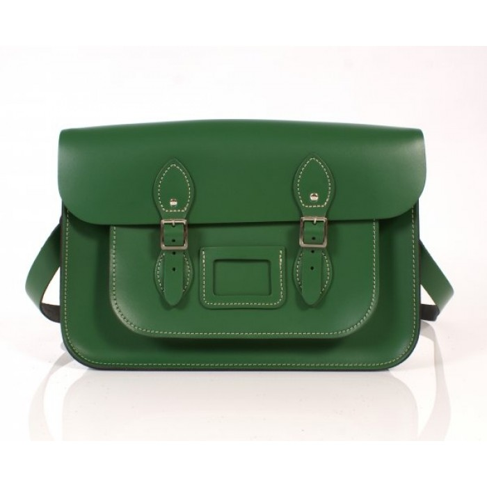 "14"" Green English Leather Satchel"