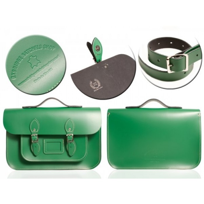 "15"" Sherwood Green English Leather Satchel - Magnetic Handleable"