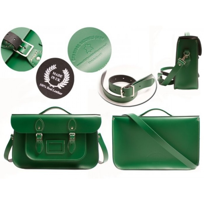 """15"""" Sherwood Green English Leather Satchel - Briefcase"""