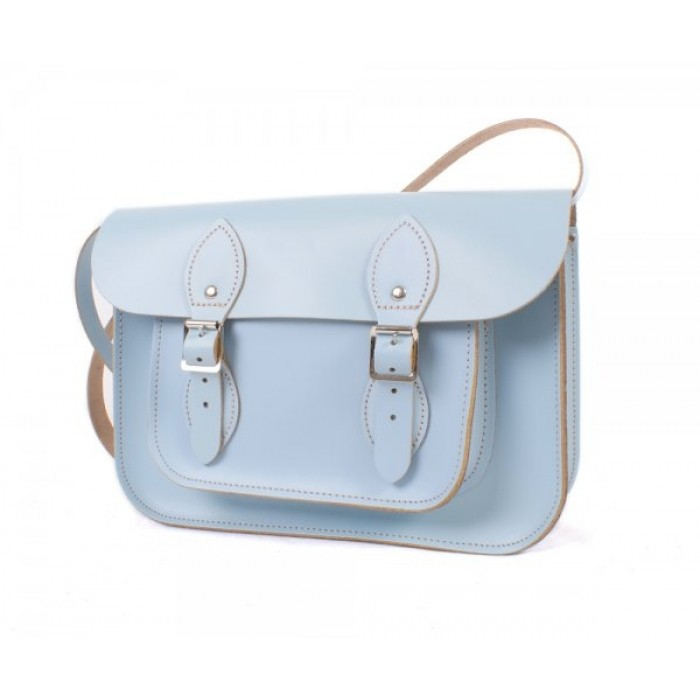 "11"" Baby Blue English Leather Satchel"