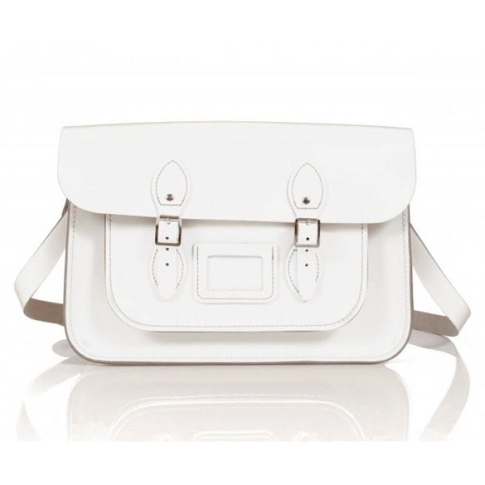 "14"" Snow White English Leather Satchel"