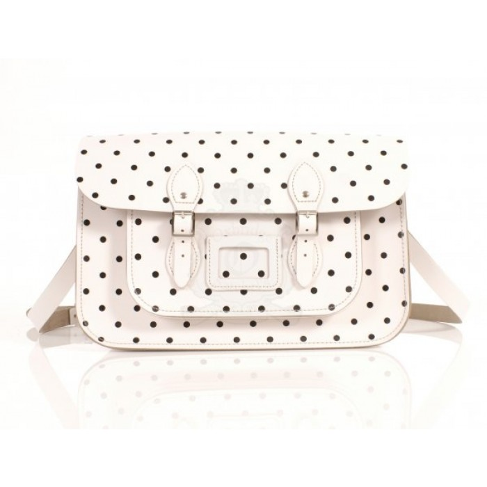 "15"" Snow White PolkaDots English Leather Satchel"