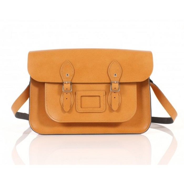 "14"" Autumn Tan English Leather Satchel"