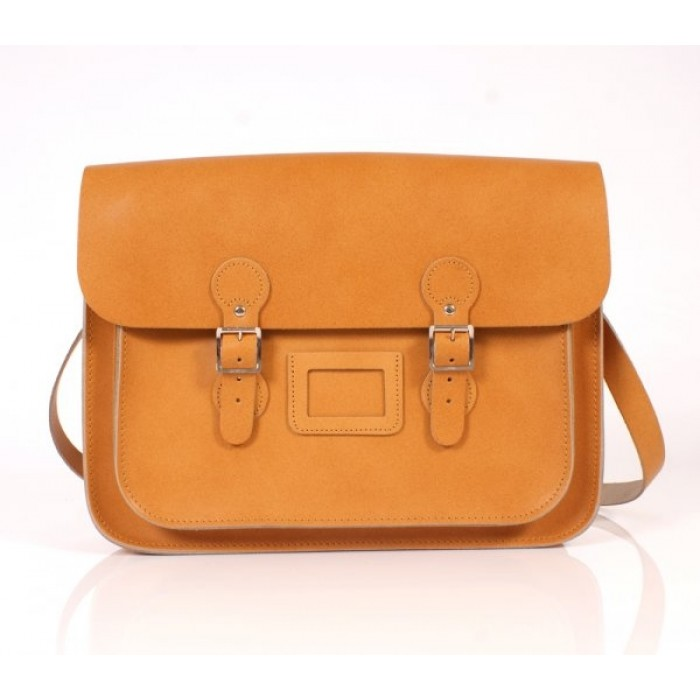 "15"" Orange English Leather Satchel - Circle"