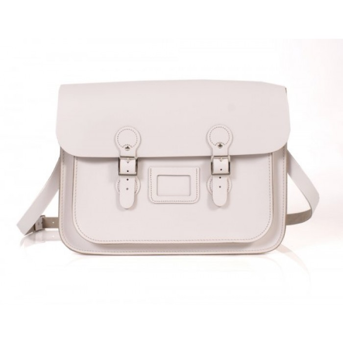 "15"" White English Leather Satchel - Circle"