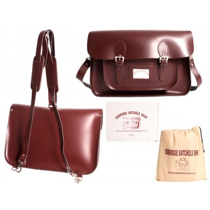 "15"" Wine Red English Leather Satchel - Backpack"