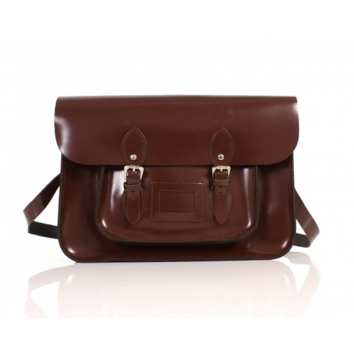 "15"" Brown Patent English Leather Satchel"