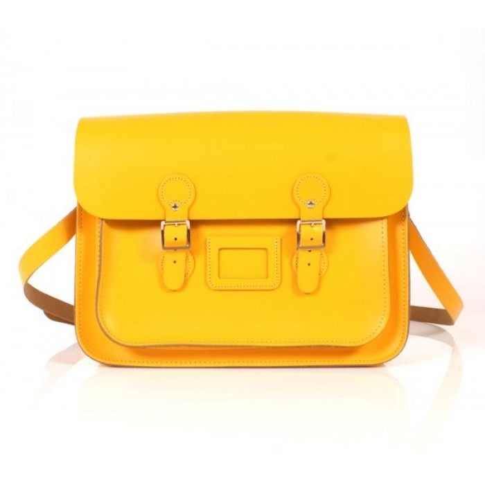 "15"" Double Yellow English Leather Satchel - Circle"