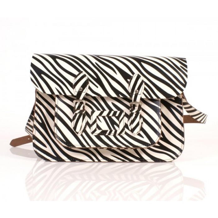 "15"" Zebra English Leather Satchel"