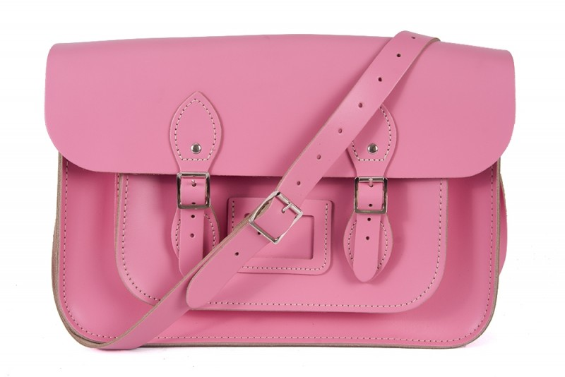 """11"""" Baby Pink Magnetic English Leather Satchel"""