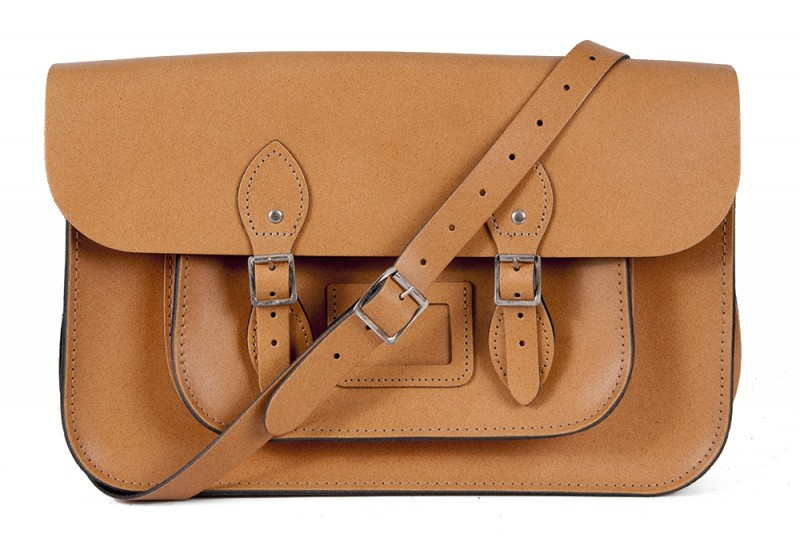 """11"""" Tan Magnetic English Leather Satchel"""