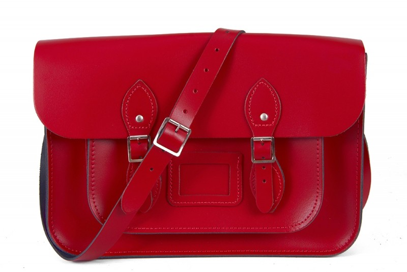 """11"""" Red Magnetic English Leather Satchel"""