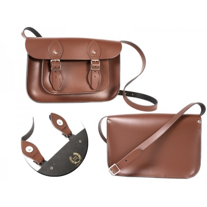 """11"""" Chestnut Brown Magnetic English Leather Satchel"""