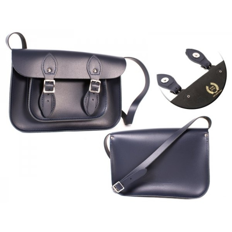 """11"""" Navy Blue Magnetic English Leather Satchel"""