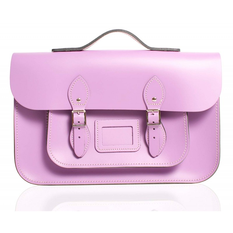 "12"" Light Purple English Leather Satchel - Handleable"