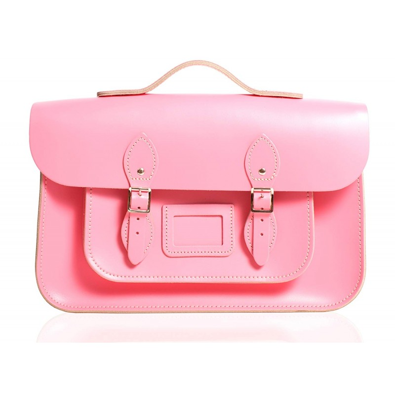"12"" Baby Pink English Leather Satchel - Handleable"