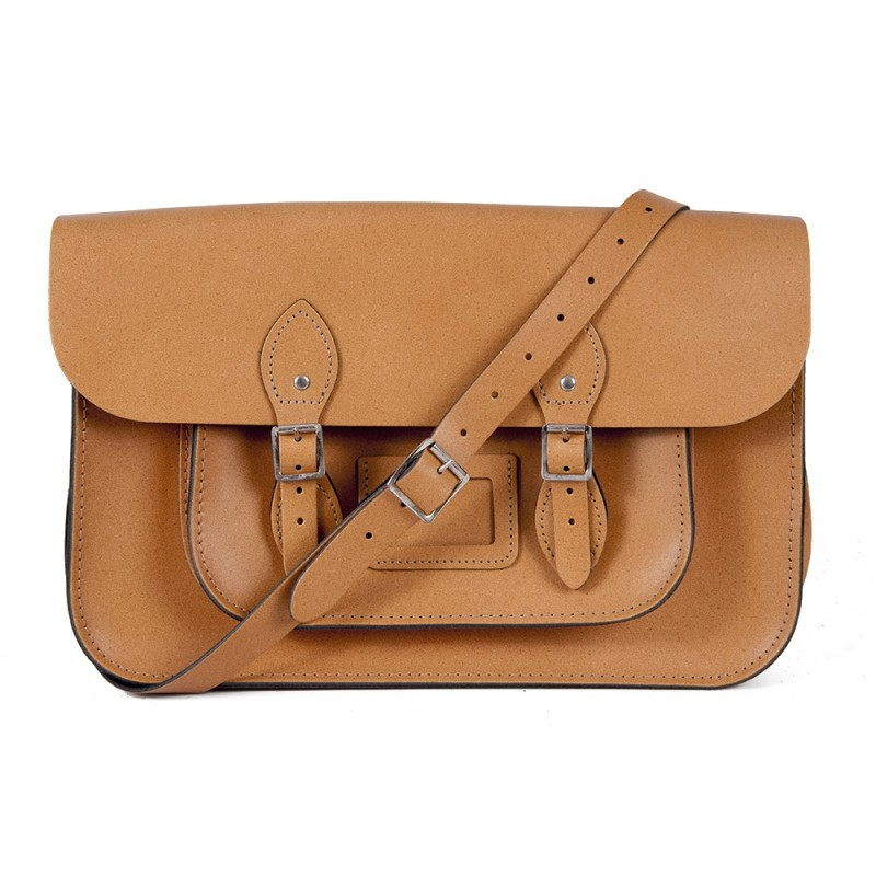 "11"" Tan Magnetic English Leather Satchel"