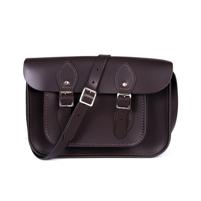 "11"" Chocolate Brown English Leather Satchel"