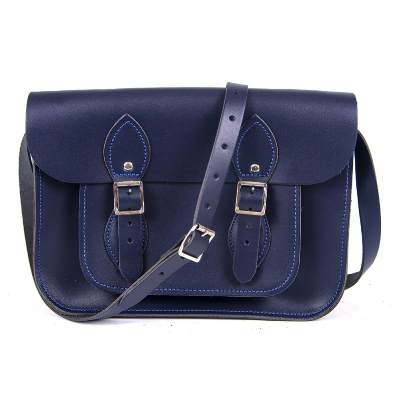 "11"" Navy Blue English Leather Satchel"
