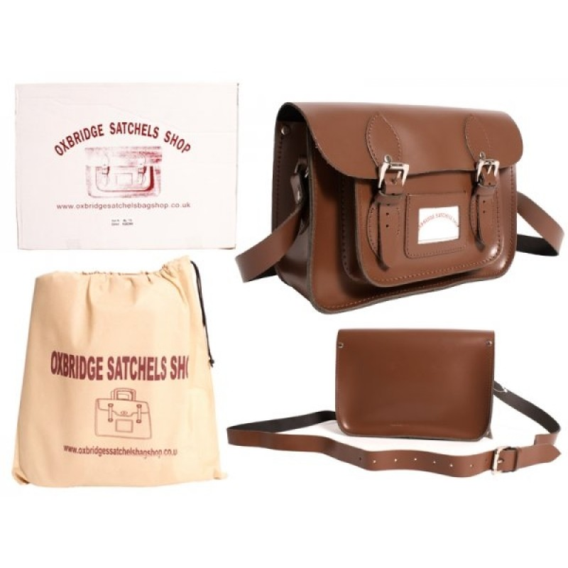 "11"" IN Chestnut Leather Satchel"
