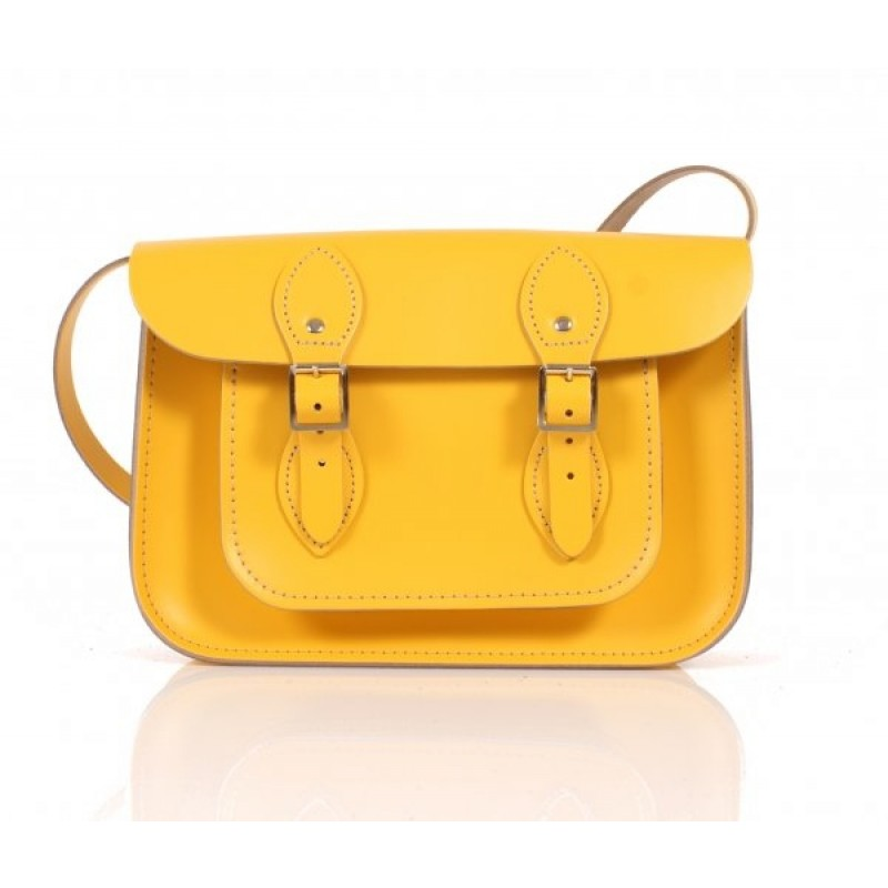 "11"" Double Yellow English Leather Satchel"