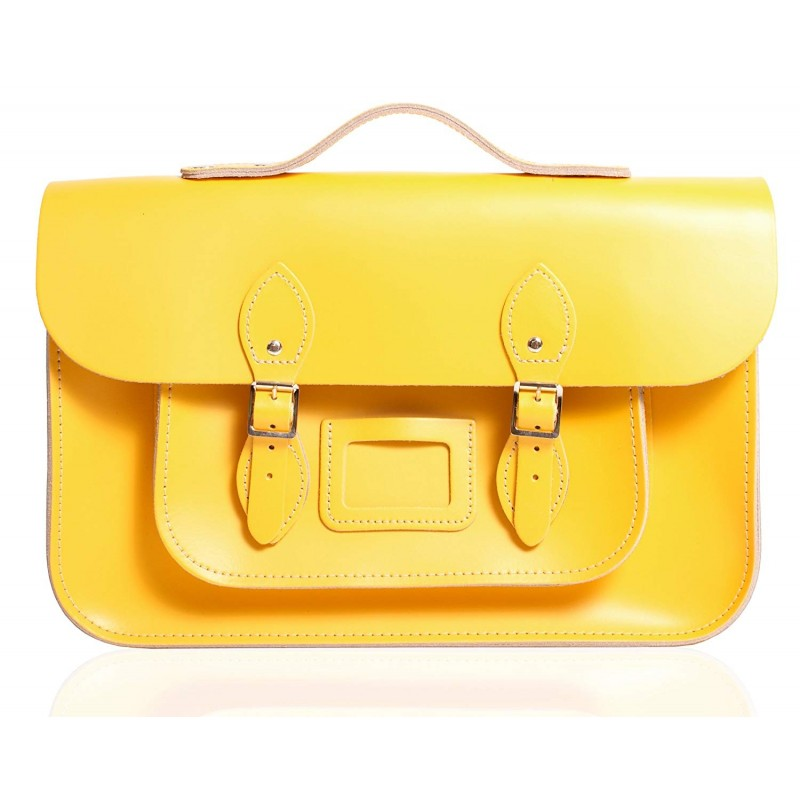 "12"" Double Yellow English Leather Satchel - Handleable"