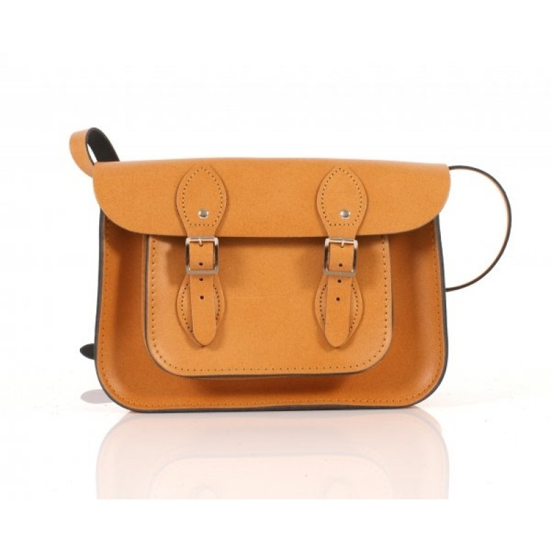 "11"" Autumn Tan Orange English Leather Satchel"