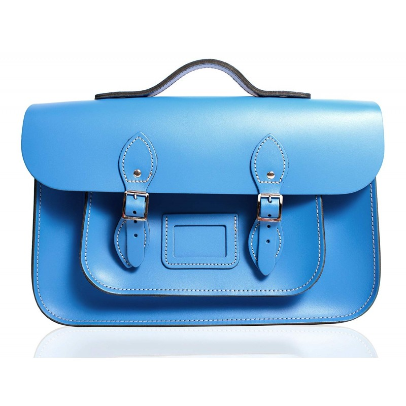 "12"" Light Blue English Leather Satchel - Handleable"