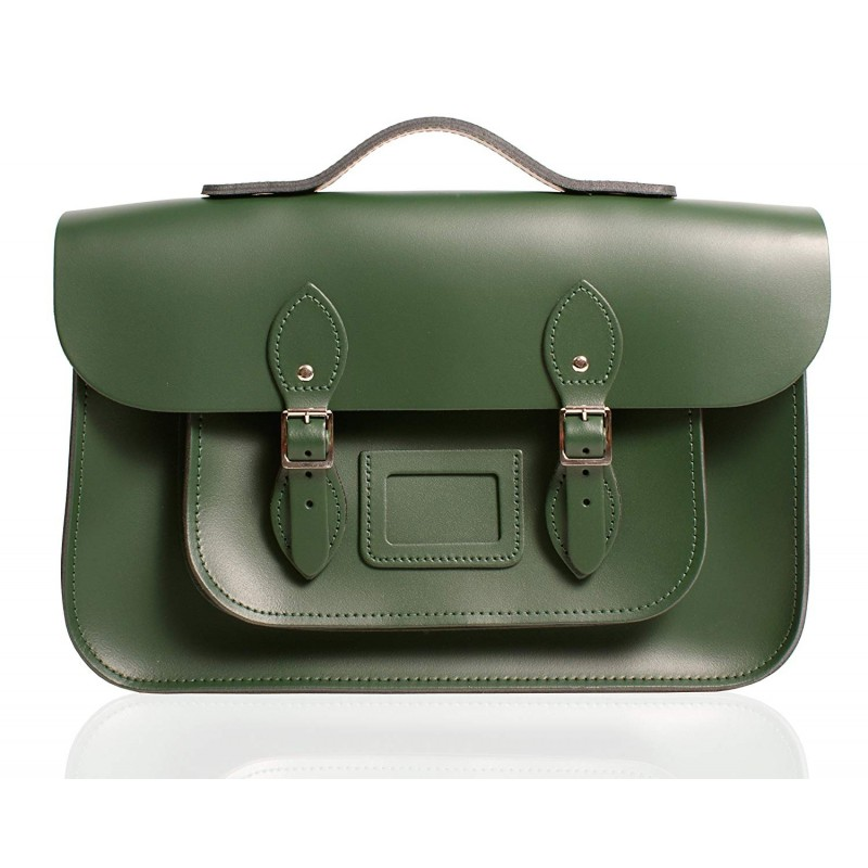 "12"" Racing Green English Leather Satchel - Handleable"