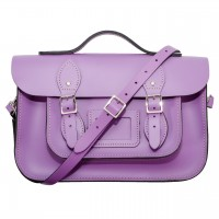 """12.5"""" Lilac English Leather Satchel - Handleable"""