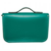"12.5"" Turquoise English Leather Satchel - Handleable"